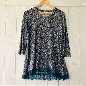 LOGO by Lori Goldstein Floral Top with Lace Hem